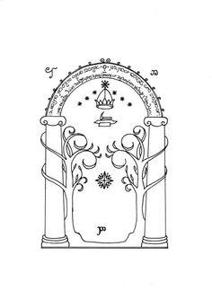Mines of Moria (Door of Durin) Tatoo Stencil