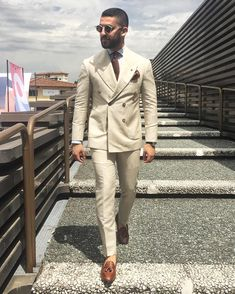 Custom men's suits Latest coat pants designs Ivory Beige Double-breasted men's suit Formal Slim Fit Gentle Blazer – For Men Suit Up, Suit And Tie, Mens Fashion Suits, Mens Suits, Mens Leisure Wear, Mode London, Prom Suits For Men, Fitted Suit, Well Dressed Men
