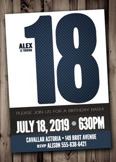 18th BIRTHDAY Party Invitation For Man Male Blue Silver Birthday Cake
