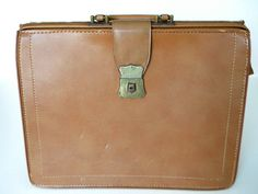 Vintage Brown Leather Briefcase by BelleBeauAntiquarian on Etsy