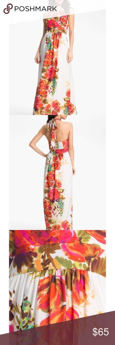 Eliza J Halter Dress Beautiful and barely worn. Full length dress that's breezy and looks classy. Built in bra Eliza J Dresses Maxi