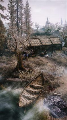 River boat Cabin conifer forest wilderness Kinematic ENB Southern Light at Skyrim Nexus - mods and community The Elder Scrolls, Elder Scrolls V Skyrim, Skyrim Nexus Mods, Skyrim Mods, Dragonborn Skyrim, Tes Skyrim, Scrolls Game, Playstation, Fantasy Places