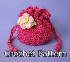 PDF Crochet Pattern - Drawstring Bag / Pouch