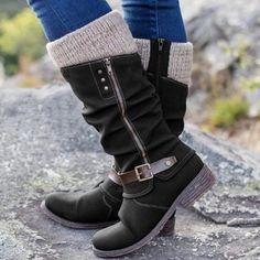 2020 Winter Boots Women's Leisure Zipper Mixed Colors Flat Heels Large Size High Warmer Hiking Snow Boots Stretch Fabric Shoes Snow Boots, Winter Boots, Western Shoes, Hiking Shoes, Running Shoes, Fabric Shoes, Mid Calf Boots, Waterproof Boots, High Boots