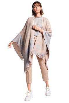 Riani Damen Poncho Beige/Hellgrau   SAILERstyle Blazer, Duster Coat, Kimono Top, Beige, Tops, Jackets, Komfort, Fashion, Accessories