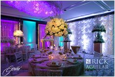 Extravagant elevated arrangement by Anthony Gowder Designs. Photo by Rick Aguilar Studios.