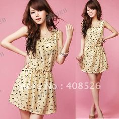 2013 New Women's Dress Bird Animal Pattern Crew Neck Casual sleeveless Chiffon Dress Sundress free shipping 4557-in Dresses from Apparel & Accessories on Aliexpress.com