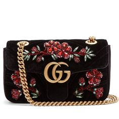 6552a124f0a40f Gucci GG Marmont mini quilted-velvet cross-body bag ($2,900) ❤ liked