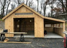Jamaica Cottage One Bay Garage. Storage shed plus workshop, and covered space for mower, bikes, wheelbarrow, etc. Backyard Storage Sheds, Backyard Sheds, Shed Storage, Outside Storage Shed, Carport With Storage, Backyard Barn, Building A Storage Shed, Backyard Buildings, Bike Storage