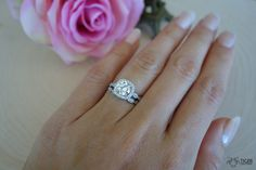 1.25 Carat Halo Wedding Set, Vintage Bridal Rings, D Color Man Made Diamond Simulants, Art Deco, Engagement Rings, Wedding, Sterling Silver by TigerGemstones on Etsy https://www.etsy.com/listing/223281579/125-carat-halo-wedding-set-vintage