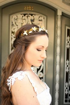 Greek Goddess Flower Crown Laurel Leaf Headpiece by AnnaMarguerite, $160.00