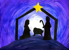 Nativity Silhouette--make with a forest silhouette to make it school friendly