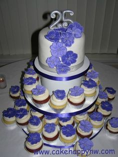 Cake and Cupcakes for a 25th Wedding Anniversary by www.cakehappynw.com