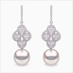 Yoko London White Gold South Sea Pearl and Diamond Earrings, from our Starlight collection. Platinum Earrings, Pearl And Diamond Earrings, Circle Earrings, Diamond Pendant, Minimalist Earrings, Minimalist Jewelry, Small Diamond Rings, Golden South Sea Pearls, White Gold Jewelry