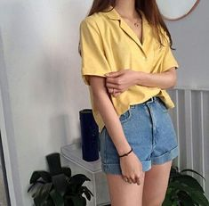 yellow shirt blue denim shorts korean fashion ulzzang 얼짱 summer casual outfits clothes street everyday comfy aesthetic soft minimalistic kawaii cute g e o r g i a n a : c l o t h e s Korean Fashion Trends, Asian Fashion, 90s Fashion, Fashion Outfits, Fashion Ideas, Korean Fashion Shorts, Style Fashion, Art Hoe Fashion, Korean Fashion Summer Casual