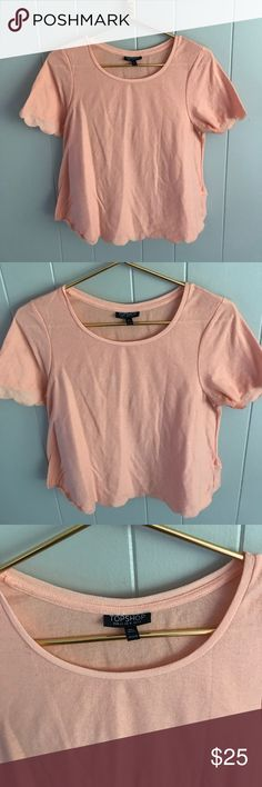 TOPSHOP peach scalloped blouse US 8 TOPSHOP scalloped blouse size US 8. GUC Topshop Tops Blouses