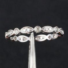 Full Eternity Band Milgrain Bezel 32ct Diamond Real 14k White Gold Wedding Ring | eBay