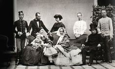 The famous family group (Schönbrunn, 1859): standing: Franz Joseph, Ferdinand Max, Charlotte of Belgium, Ludwig Victor, Carl Ludwig sitting: Elisabeth with Rudolf and Gisela, Sophie, Franz Carl