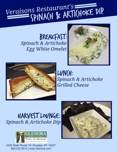 Glenora Wine Cellars is now offering a complimentary food & wine pairing experience in the Retail Shop, every Thursday from 11-4pm. An item from the current menu at Veraisons Restaurant will be available to taste and will be paired with one of our wines. This week (5/29) we present: Spinach & Artichoke Dip - Featured on our Grilled Cheese, Egg White Omelet and also on our Lounge Menu. Seneca Lake, Finger Lakes