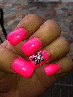 Holy bright nails cute and easy nail art ideas Bright Summer Acrylic Nails, Bright Pink Nails, Hot Pink Nails, Pink Nail Polish, Nail Polishes, Short Nail Designs, Toe Nail Designs, Pedicure Designs, Bright Nail Designs