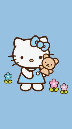 Hello Kitty Art, Hello Kitty My Melody, Hello Kitty Pictures, Sanrio Hello Kitty, Sanrio Wallpaper, Bear Wallpaper, Kawaii Wallpaper, Iphone Wallpaper, Hello Kitty Backgrounds