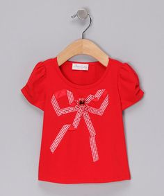 Take a look at this Red Gingham Bow Top - Toddler & Girls by Elly on #zulily today!