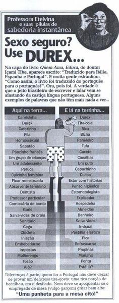 Diferenças entre o do Brasil e Portugal http://wwwblogtche-auri.blogspot.com.br/2012/04/palavras-engracadas-e-dicionario-de.html