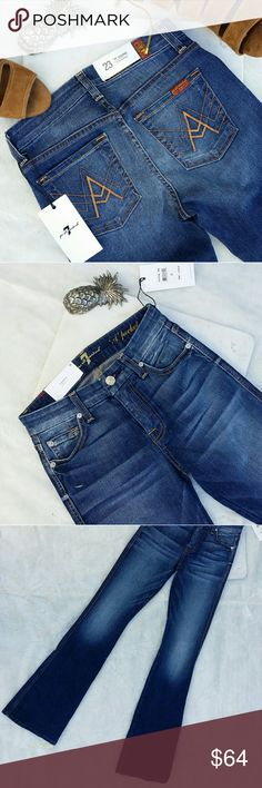 """7 for all mankind A pocket Flare Bright Indigo 23 NWT 7 for all mankind A pocket Flare Bright Indigo mid rise Sz 23  A hand-sanded, medium blue wash softens perfectly whiskered jeans in a flattering, flared-leg silhouette for an authentic, vintage-inspired look. 34 1/2"""" inseam; 18"""" leg opening; 9"""" front rise; 13"""" back rise (size 29). Zip fly with button closure. Five-pocket style. 98% cotton, 2% spandex. Machine wash cold, tumble dry low. By 7 For All Mankind; made in the USA of imported…"""