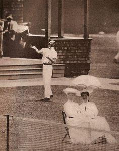 John Jacob Astor, playing tennis at Newport around 1905.  His first wife, Ava Willing, is seated on the left in the foreground. Tellingly, she has turned her back on her husband.