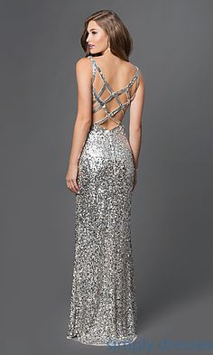 Shop long prom gowns and sequined pageant dresses with side slits at Simply Dresses. Floor-length open-back sequined formal gowns under $300.
