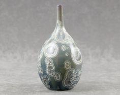 Crystalline Silver on Blue Gray Fade Vase #4401