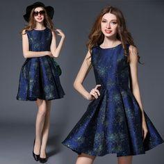 Elegant Womens Sleeveless Vest High-End Luxury Jacquard Printed Mini Dress