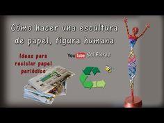 (54) Cómo hacer una escultura de papel, figura humana - YouTube Origami, Weaving, Christmas Ornaments, Bottle, Holiday Decor, Youtube, Ideas, Newspaper, African Dolls