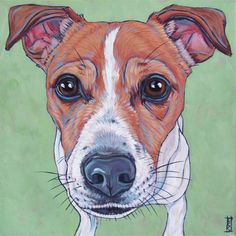 "Taz the Jack Russell Terrier Dog Pet Portrait Painting in Acrylic on 8"" x 8"" Stretched Canvas from Pet Portraits by Bethany."
