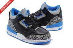 2015 kids Black/Sport Blue 006064-007 AIR JORDAN 3 RETRO Sport Blue