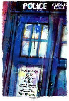 Doctor Who TARDIS Abstract Art Canvas 16 x 24 or 20 x by j2artist