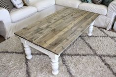 "Upcycle your boring old coffee table: -1x4 finished-grade pine -Cut 1"" longer than length of table -Stain with Minwax wood finish (I like ""Provincial"") and let dry -Mark exactly half of the table, and lay 2 boards on either side of the mark, working your way out to the sides -Screw in the middle of each board and on each end,  making sure you're going thru the original table top. -Clear coat (Rust-Oleum Parks Super Glaze Epoxy?) -AND YOU'RE DONE!"