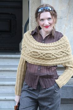 Cabled Shrug with sleeves.