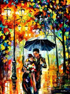cold rain, LEONID AFREMOV love this, looks like a stain glass window!