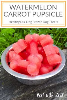 Pupsicle Easy DIY frozen dog treat with just two ingredients- carrot and watermelon. Call it a popsicle or a pupsicle we don't are as long as your dog is happy! Help your dog cool off this summer with a hydrating treat!Easy Easy may refer to: Puppy Treats, Diy Dog Treats, Healthy Dog Treats, Summer Dog Treats, Dog Biscuit Recipes, Dog Treat Recipes, Dog Food Recipes, Food Dog, Frozen Dog Treats