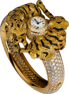 Cartier High Jewelry Tiger Cubs Decor HPI00249 Yellow Gold Watch Image 1. ‹