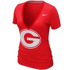Nike Georgia Bulldogs Womens Deep V Burnout T-Shirt - Red