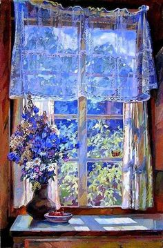 Aesthetic Painting, Aesthetic Art, Painting Inspiration, Art Inspo, Russian Painting, Window Art, Contemporary Paintings, Art And Architecture, Art Day
