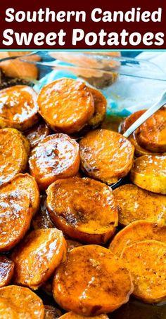 Southern Candied Sweet Potatoes #southern #Thanksgiving #sweetpotatoes #sidedish Sweet Potato Casserole, Sweet Potato Recipes, Potato Dishes, Food Dishes, Side Dish Recipes, Vegetable Recipes, Candied Sweet Potatoes, Southern Candied Yams, Toasted Potatoes