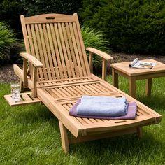 Teak Wood Chaise Lounge Chair.....very nice!!