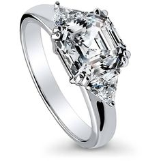 BERRICLE 925 Silver Asscher Cubic Zirconia CZ 3-Stone Engagement Ring... ($48) ❤ liked on Polyvore featuring jewelry, rings, clear, women's accessories, silver cubic zirconia rings, silver band ring, 3 stone anniversary rings, silver engagement rings and 3 stone engagement rings