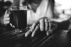 Craft beer brewery engagement session diamond ring.
