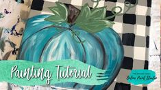 In this Video we will paint some buffalo plaid on a canvas and add a cute teal pumpkin! Learn How to Paint with Christie Hawkins and The Social Easel Online Paint Studio Pumpkin Canvas Painting, Pumpkin Painting Party, Autumn Painting, Autumn Art, Acrylic Painting Canvas, Canvas Paintings, Acrylic Art, Painting Holidays, Fall Canvas Art