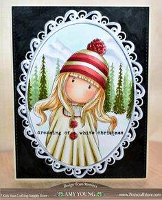Docrafts Gorjuss Girls Stamp Pom Pom is cozy wintery beautiful! 1 large 5 x gorjuss girl and 4 smaller stamps. Copic Marker Art, Christmas Characters, Christmas Drawing, Copics, Cute Cards, Painted Rocks, I Card, Craft Supplies, Birthday Cards