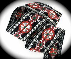 Vintage Woven Jacquard Ribbon  2 x 1 yd  Black by LesBonRibbon